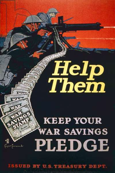 'Help Them, Keep Your War Service Pledge', World War One poster, 1918 (colour litho)