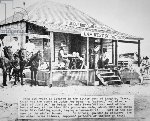 Judge Roy Bean (1825-1903) holding court at Langtry, c.1900 (b/w photo)