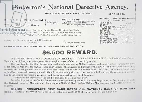 Reward Circular issued by Pinkerton's National Detective Agency, 1901 (litho)