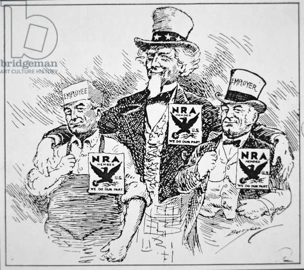 Cartoon depicting the impact of Franklin D. Roosevelt's (1882-1945) 'New Deal', 1933 (print)