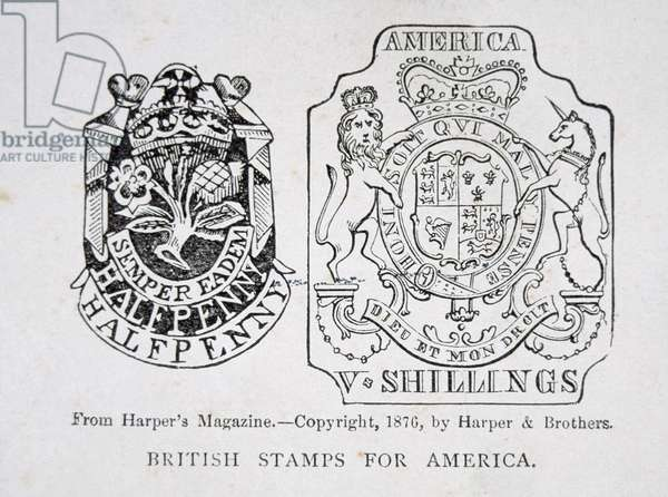 British stamps for America, 1765, pub. in Harper's Magazine in 1876, 1765 (litho)