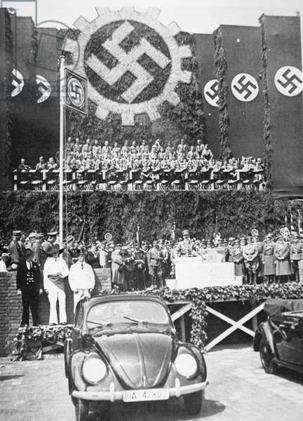 Hitler launches the 'People's' Car, the beetle-shaped Volkswagen, 26th May 1938 (b/w photo)