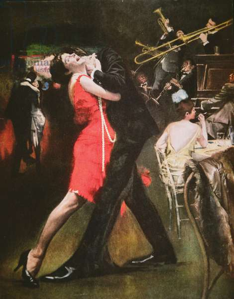 Jazz club of the 'Roaring Twenties' (colour litho)