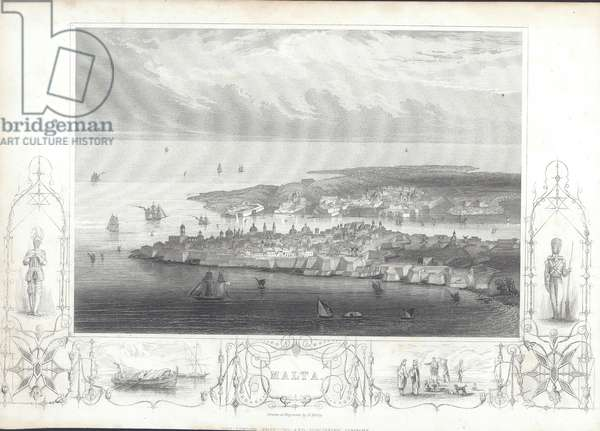 View of Valletta and Grand Harbour, Malta (engraving)