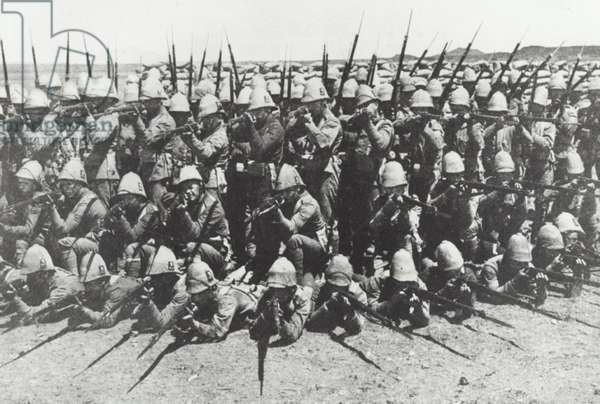 Royal Munster Fusiliers form a square for a photograph during the Boer War, c.1900 (b/w photo)