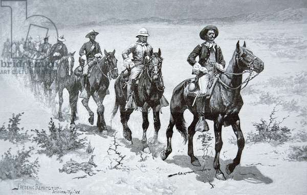 US 'Buffalo Soldiers' marching in the desert, from a drawing of 1888 (engraving)