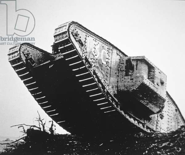 British Mark IV tank of WWI first used in August 1917 and served in the battles of Messines, Ypres & Cambrai, 1917-18 (b/w photo)