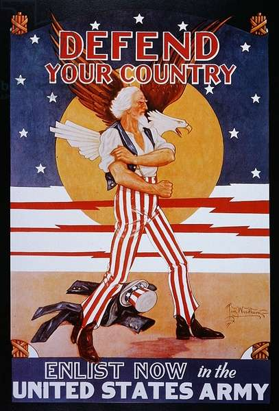 'Defend Your Country Enlist Now in the United States Army', c.1917 (colour litho)