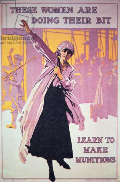 British poster of WWI to encourage women to work in munitions factories, c.1914-18 (colour litho)