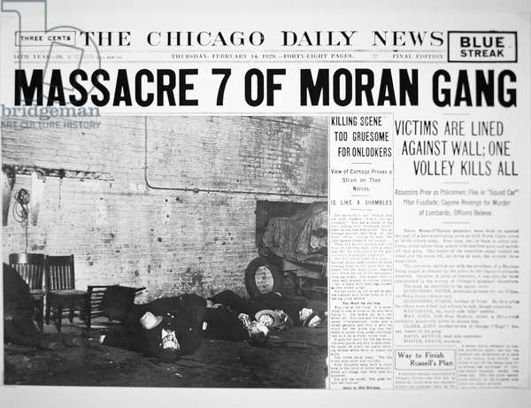 St. Valentine's Day Massacre, front page of the 'Chicago Daily News', 14th February 1929 (newsprint)