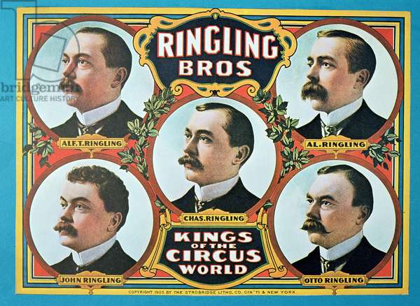 Poster advertising the 'Ringling Bros. Kings of the Circus World', 1905 (colour litho)
