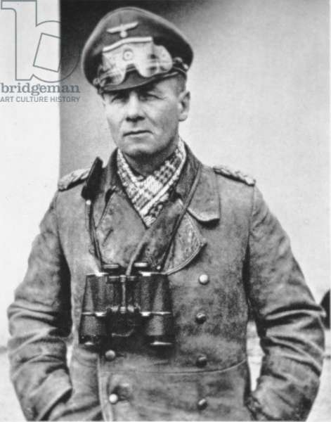 Erwin Rommel in typical desert dress of the North African campaign, c.1941 (b/w photo)