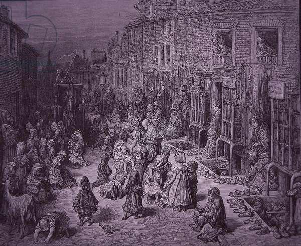 London slums, Seven Dials, c.1872 (engraving)