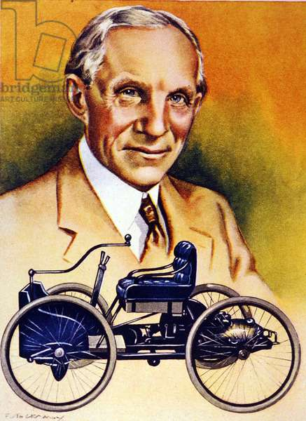 Henry Ford and his first motorcar of 1896 (colour litho)