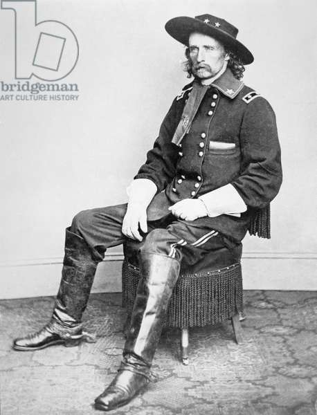 Portrait of General Armstrong Custer (1839-1876) (bw photo)