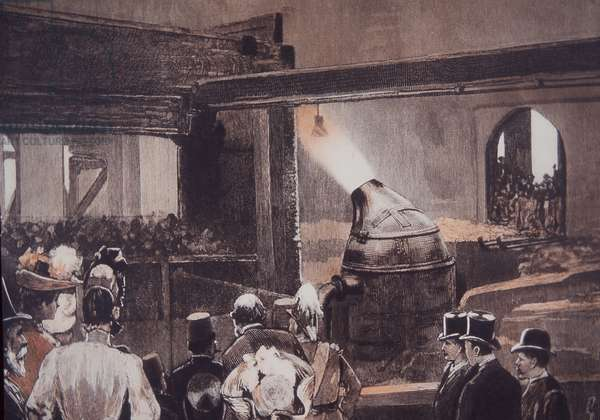 Visitors watching Bessemer Steel Process at John Brown and Co foundry, 1889 (hand-coloured engraving)