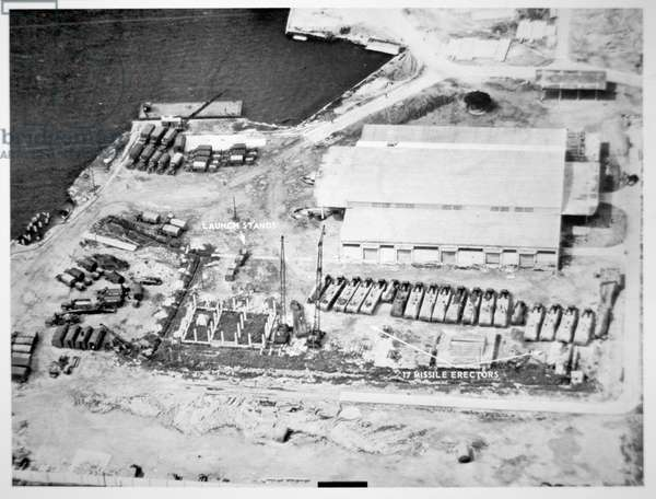 A US aerial photograph of missile equipment at the Mariel Port Facility in Cuba, 4th November, 1962 (b/w photo)