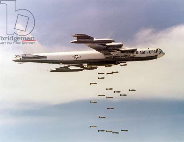 US Airforce B-52 Bomber dropping bombs over Vietnam, c.1970 (photo)