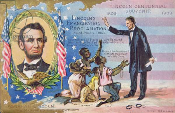 An Abraham Lincoln Centennial souvenir postcard depicting the Emancipation of Slaves in 1863, 1909 (colour litho)