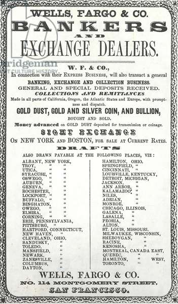 Advertisement for Wells, Fargo & Co. Bankers and Exchange Dealers, 1856 (litho)