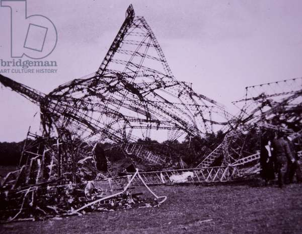 Wreck of British R101 airship after it crashed in France in 1930 (b/w photo)