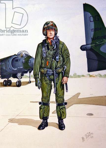 Uniforms of the United States Marine Corps; Harrier Pilot, 1989 (w/c on paper)