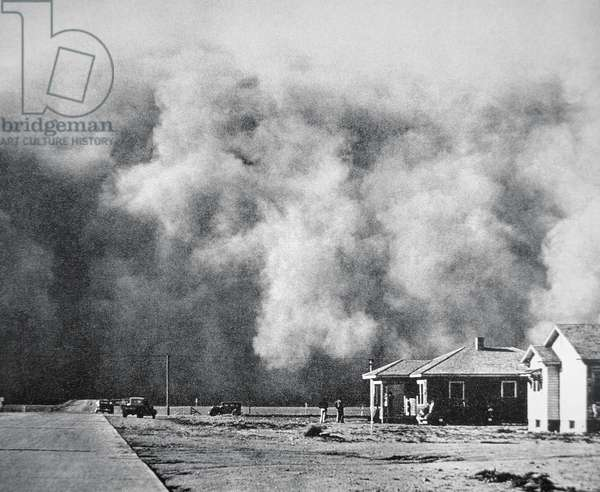Dust storm hits the town of Springfield, Colorado, May 1937 (b/w photo)