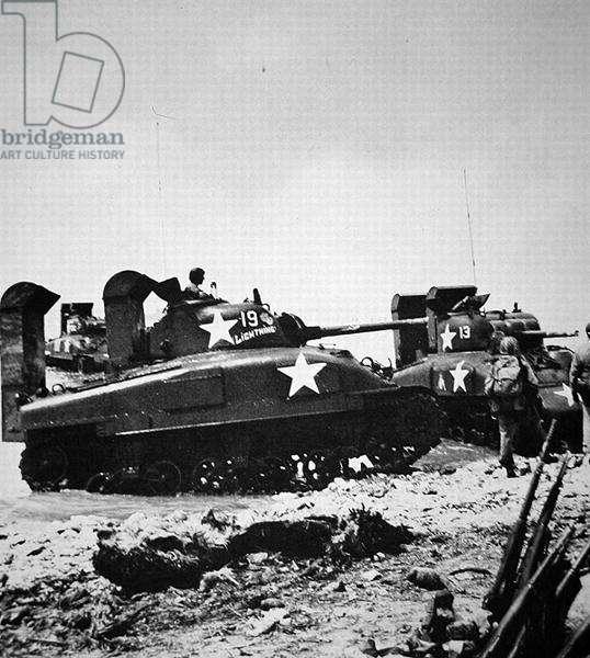 American medium tanks going ashore on Kwajalain, Marshall Islands, January, 1944