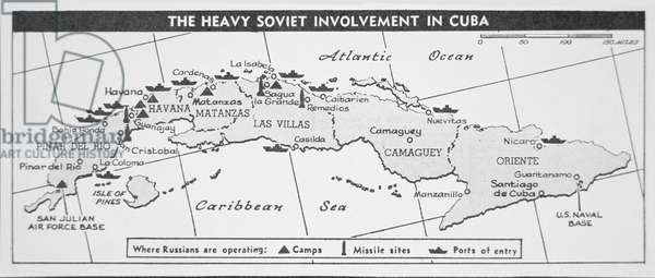 US Chart showing Cuban missile sites, 1962 (litho)
