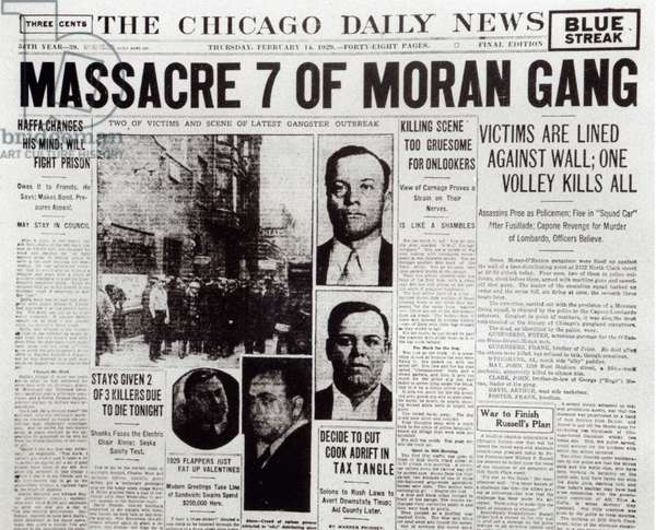 The Gusenberg Brothers, St Valentine Day's Massacre, front page of 'The Chicago Daily News', 14th February 1929 (newsprint) St. Valentine's Day Massacre, front page of the 'Chicago Daily News', 14th February 1929 (newsprint)