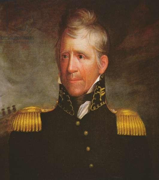 Portrait of American general Andrew Jackson (colour litho)