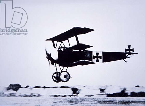 Captain Baron von Richthofen landing his Fokker Triplane (b/w photo)