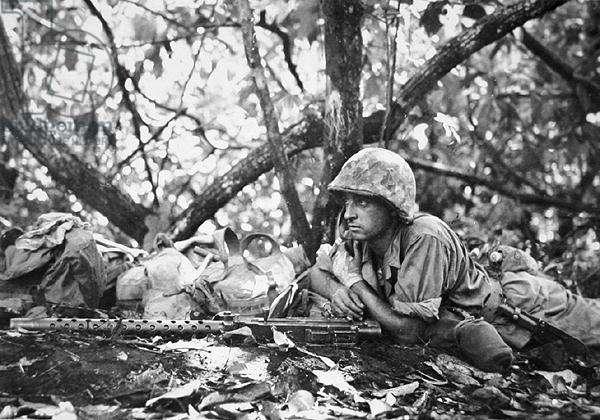 US Marine armed, New Britain Island, New Guinea, 1943 (b/w photo)