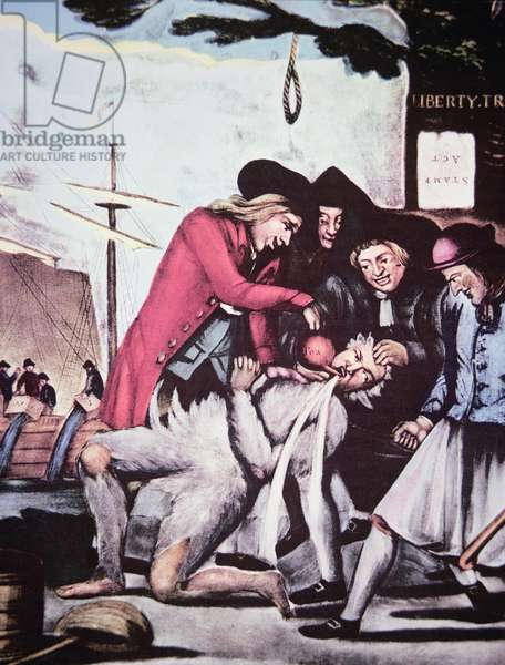 Boston patriots forcing British tea into a tax collector, who has been tarred and feathered, 1773 (colour litho)