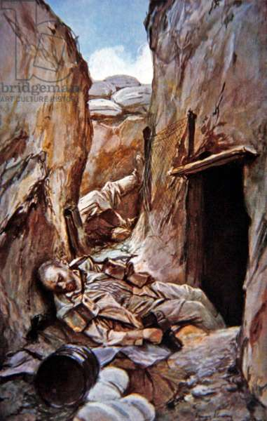 German dead in a trench captured by the French at Perthes, painted from the sketch on the spot, second Battle of Champagne, October 1915 (colour litho)