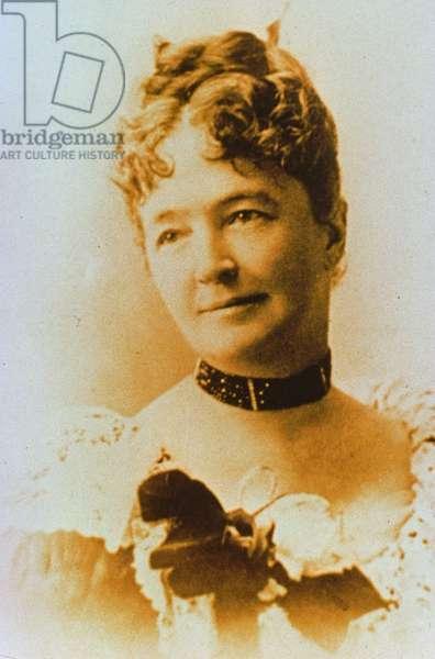 Elizabeth Bacon Custer (1842-1933) wife of General George A. Custer (1839-76) (b/w photo)