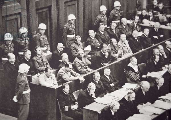 Defendants at the Nuremberg War Trials, showing leading Nazis in the dock; November 1945- October 1946;  (b/w photo)