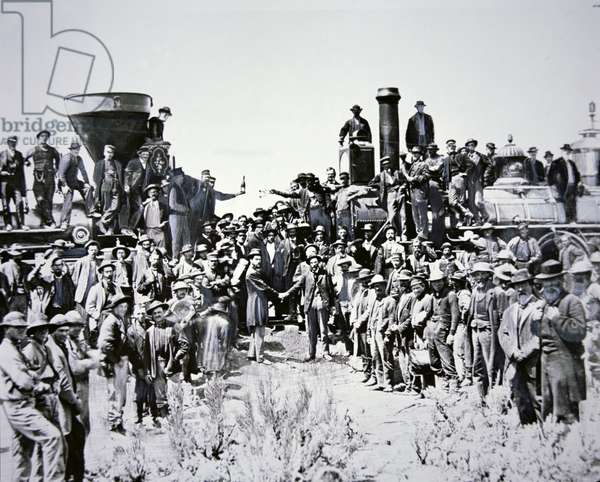 The Golden Spike Ceremony, 10th May 1869 (b/w photo)
