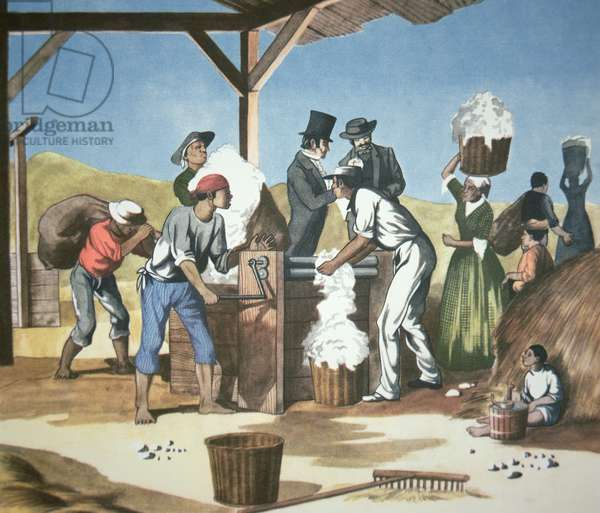 Eli Whitney's (1765-1825) Cotton Gin, operated by black slaves, 1793 (colour litho)