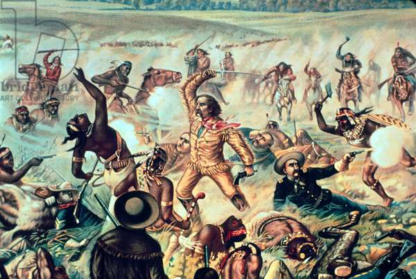 'Custer's Last Fight', poster printed and distributed by Aneheuser Busch Brewery of St. Louis, 1895 (colour litho) (detail of 245861)
