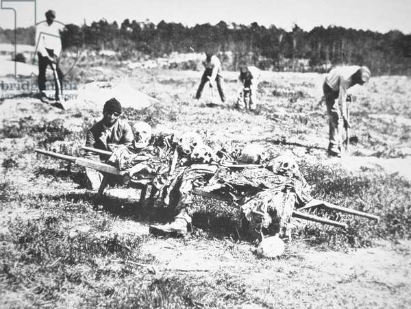 Burial party on the battlefield of Cold Harbor, 1865 (b/w photo)