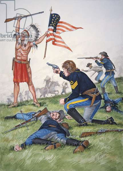 A Sioux warrior versus the 7th Regiment of US Cavalry in the Battle of the Little Bighorn, 25th June 1876, from a set of six tableaux, 1991 (colour litho)