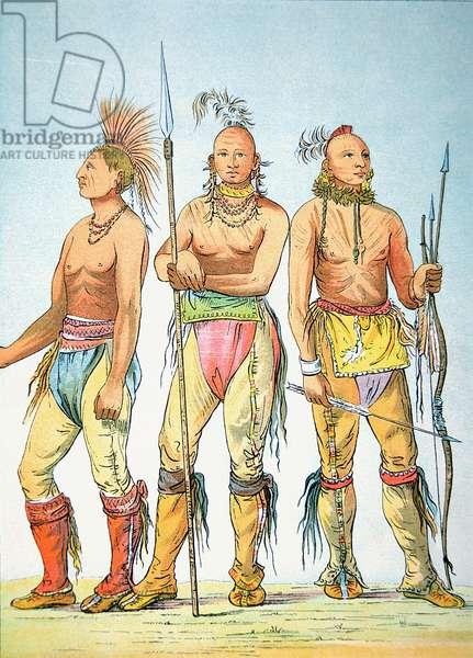 Three Osage Braves, 1841 (colour litho)