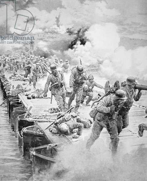 The Second German Crossing of the River Marne, 15th July 1918, published in The Sphere, 27th July 1918 (litho)