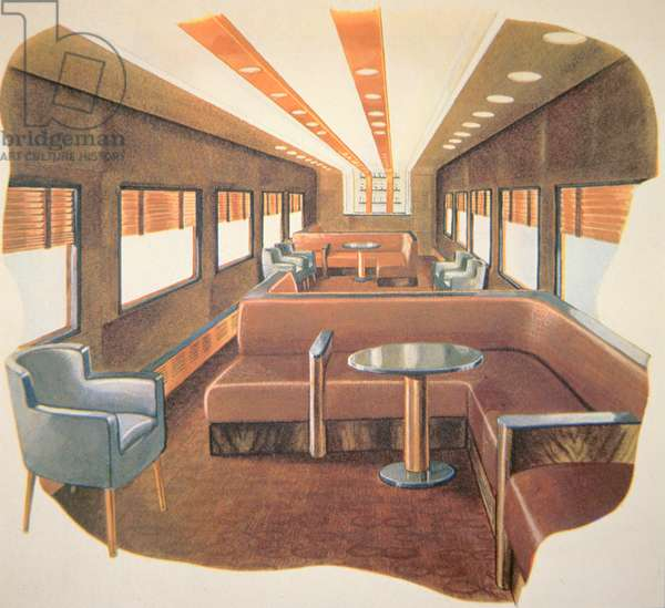 """The Bar Lounge of the """"New 20th Century Limited"""" of the New York Central System, 1937 (colour litho)"""