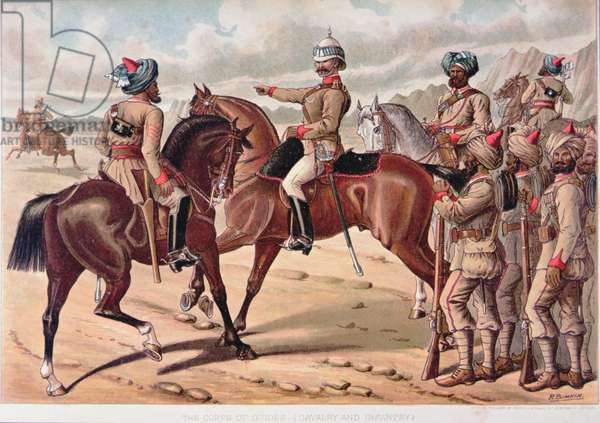 The Corps of guides (Cavalry and Infantry), the Anglo-Indian Army of the 1880s (colour litho)