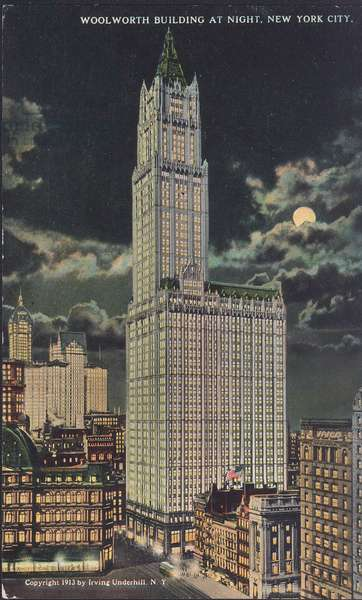 Postcard of the Woolworth Building at night, New York City, 1913 (colour litho)