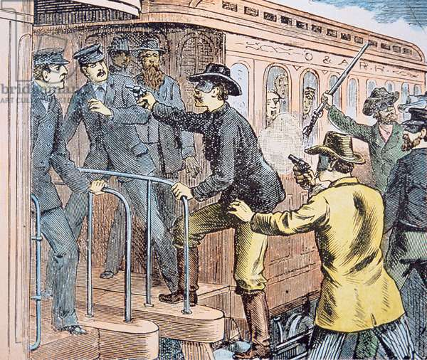 Jesse James and his gang hold up a train, illustration from the 'Police Gazette' of 1881 (colour litho)