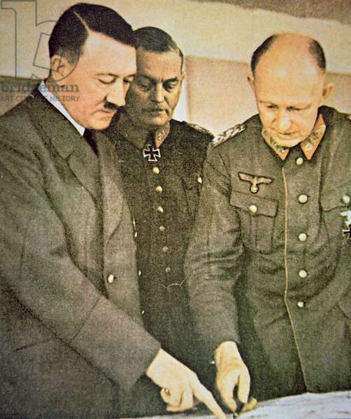 Hitler with Generals Keitel and Jodl studying a war map, published in 'Signal', 1940 (photo)