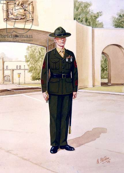 Uniforms of the United States Marine Corps: Drill Instructor, 1989 (w/c on paper)